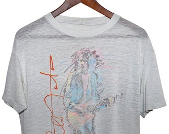 Vintage 80s 1985 SANTANA Beyond Appearances Rock Concert Tour T SHIRT Distressed Mens M L Boyfriend Fit
