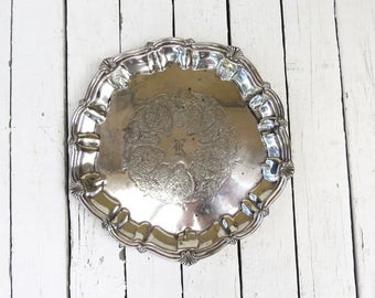 Round Silver Tray, Vintage Platter, Ornate Tray, Holloware, Dining Decor, Serving Piece, Silver Plate Old Tray, Footed Tray, K Monogram