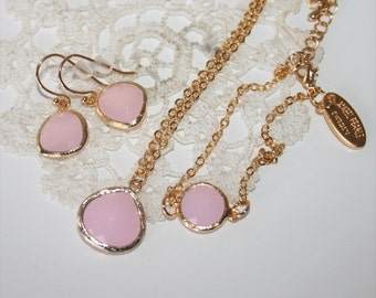 Pink Drop Jewelry Set in Gold,Bridesmaids favors,Pink Jewelry,Necklace Earring Bracelet,Bridal pink Jewelry Set,Flowergirl - Wedding Jewelry