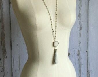 Popular Druzy Tassel Necklace, Layering Tassel Necklace, Rosary Chain Necklace, Druzy Tassel Necklace, Boho Necklace, Silver Tassel Necklace