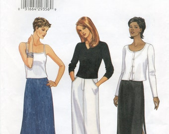 Long A-Line, Bias or Straight Skirt Sewing Pattern Size 8 10 12 Butterick 6021 UNCUT, Lined, Zipper, Side Slits, Side Pockets, Back Vent