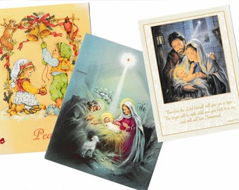 3 Christmas Nativity Cards Greeting for Crafting or Decor