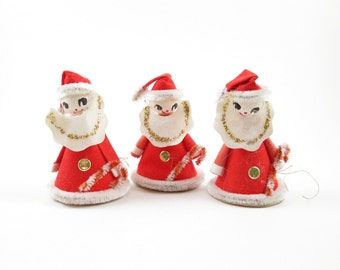 3 Santa Claus Christmas Tree Ornaments Cardboard Decorations Vintage Chenille Pipe Cleaner Candy Canes