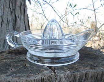 Vintage Juicer Citrus Reamer Ribbed Clear Glass Farmhouse Must Have!