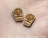 4pcs (SWC241) DIY Laser Cut Wooden French Fries Charms