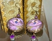 Purple Boreas gypsy image bead earrings Pamelia Designs Sacred Jewelry alterd art vintage charm Waterhouse