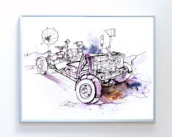 14 x 11 inch Apollo Lunar Rover art, Science Poster Art Print, Original Illustration - Stellar Science Series™