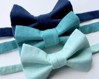 Little and Big Guy BOW TIE - Spring Easter Solids - Blue Tones (Newborn-Adult) - Baby Boy Toddler Teen Man- Aqua Teal Navy Blue