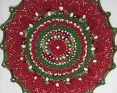 Cranberry Doily-13.5 inch Doily-Holiday Green Unisex Textured Variegated Doily-Egyptian Cotton HandCrocheted Doily-Cindy's Loft