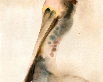 Brown pelican Original watercolor painting 8x10inch