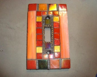 MOSAIC Light Switch Plate -  Single Switch, Wall Art, Wall Plate, Stained Glass, Orange, Red, Silver
