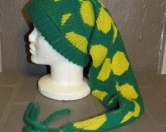 Vintage Stocking Cap Extra Long Green Yellow Spots, Knit stocking hat, winter stocking hat, 70's knit hat, tassel end, polkadot hat, Green