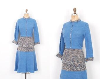 Vintage 1970s Dress / 70s Space Dyed Knit Sweater Dress / Blue ( M L )