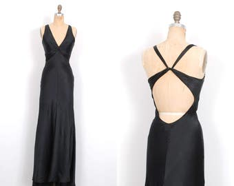 On layaway...Vintage 1990s Dress / 90s Black Bias Cut Silk Gown / Backless ( small S )