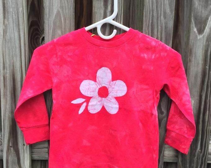Red Flower Shirt, Girls Flower Shirt, Flower Girls Shirt, Kids Flower Shirt, Valentines Day Shirt, Long Sleeve Shirt, Red Kids Shirt (4/5)