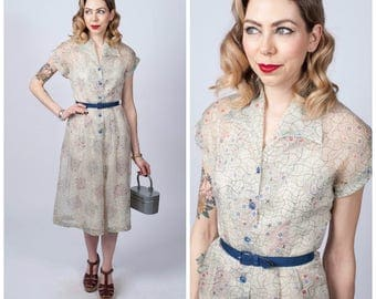 Vintage Early 1950's Semi Sheer Under The Sea/ Star Print Belted Dress/ 50's Off- White Printed Dress Size X-Small