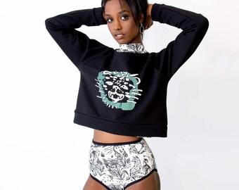 Cropped Sweatshirt - Hand Printed - Organic Cotton -  Slow Fashion - Eco Fashion - Cheetah- Thief and Bandit®