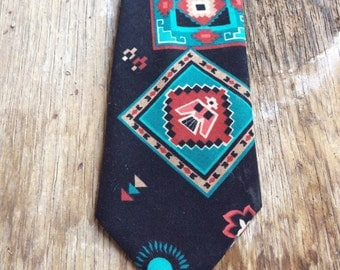 Vintage Southwest tie thunderbird design black turquoise necktie Southwestern style gift for men
