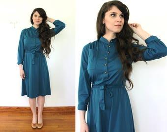70s Dress / 1970s Cerulean Blue Secretary Dress