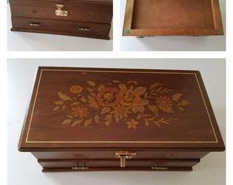 Large Wood Floral Inlay Keepsake/Jewelry Music Box