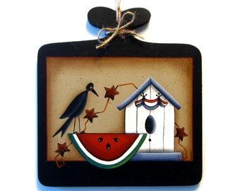 Primitive Crow, Watermelon, Birdhouse Sign, Handpainted Wood Plaque, Hand Painted Prim Americana Decor, Tole Decorative Painting, B1