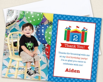 Bounce House Photo Thank You Cards - Professionally printed *or* DIY printable