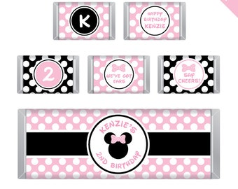 Baby Pink Minnie Mouse Party - Personalized DIY printable Hershey bar labels