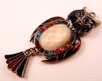 Enamel Pendant Owl Pendant Brass Pendant Bird Pendant Black Pendant Metal Pendant Black Bead Brass Bead Owl Bead