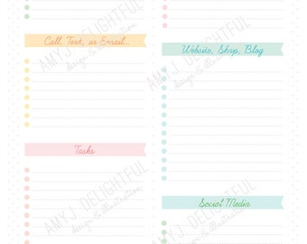 Printable SMALL BUSINESS Planning inserts - Digital File Instant Download- 2 sizes, letter & half-letter sizes, goals, to-do lists
