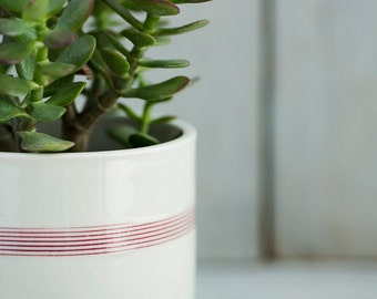 Extra Large Porcelain Planters with Drainage - Red Stripes