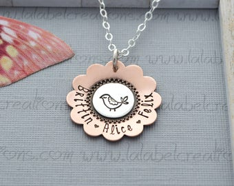Mama Bird Necklace, Hand Stamped Necklace, Personalized Necklace, Mommy Necklace, Kids Name Necklace, Personalized Jewelry for Mom
