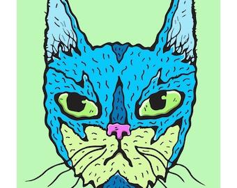 Batgirl Patterned Wiggly Kitties Cat Art Print