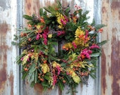 "Merry Berry Wreath Small 20"" - Fresh Christmas Wreath,  Evergreen wreath, Natural wreath, Christmas wreath, holiday decor"