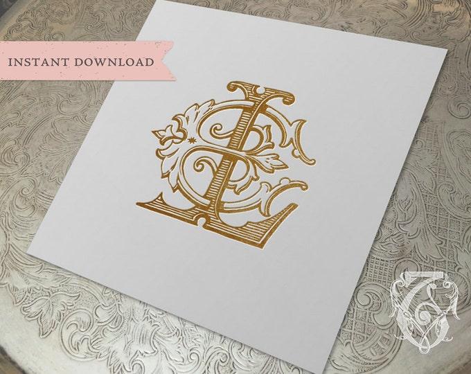 Vintage Wedding Monogram  LE EL Digital Download L E