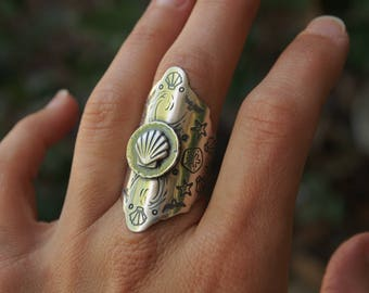 READY TO SHIP Rush Ring Earth Mandala Ring Sterling Silver Saddle Statement Ring Beach Jewelry Sea Shells Starfish Nautical Ocean Jewelry