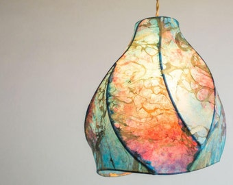 Pendant Light - Paper Lanterns - Handcrafted Sculptural Lighting - Blue - Purple - Gold - Marble - Cosmos Camellia Pendant