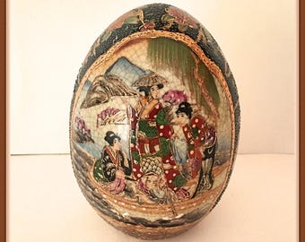 Chinese Decorative Egg, Geisha Girls, Scenic, Boat, Gold Gilt,  Reproduction of Satsuma, Vintage 1970's 1980's