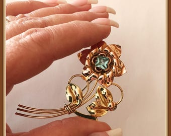 Vintage Harry Iskin Flower Brooch, 10k 1/20, Yellow Gold, Rose, Aqua Stone, c 1930 1940's