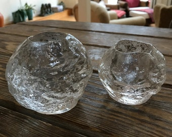 2 Kosta Boda Snowball Glass Votives Ann Wärff Sweden Great Wintry Midcentury Modern Home Decor