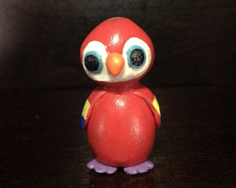 Miniature Polymer Clay Red Parrot