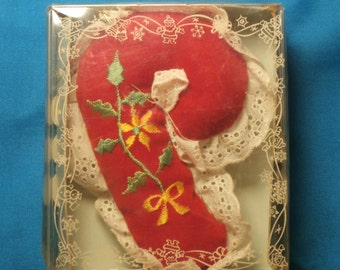Candy Cane Christmas Ornament, Vintage Giftco 1983 Velvet and Lace Decoration, Red Velvet with Embroidery