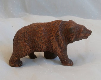 Composition Bear Figurine, Old Vintage 1930s or 40s Era Souvenir or Toy, possibly from Yellowstone Park