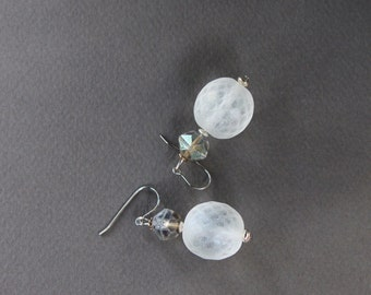 SALE Czech Glass Snowball Earrings Large Winter Frost Globes with Silvery AB Glass Accents on Stainless Steel Hooks Jewelry