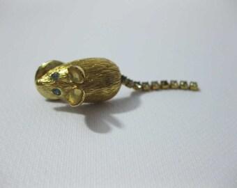 Vintage Avon Blue Rhinestone Gold Tone Mouse Lapel Pin