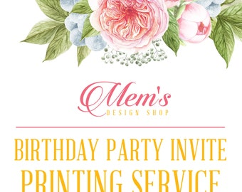 Mem's Design Shop Birthday Party Invitation printing service
