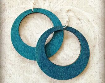 Large Teal Wood Hoop Earrings Boho Gypsy African Tichel Accessory Earrings Large Wooden Lightweight Earrings Ankara Wrap Accessory