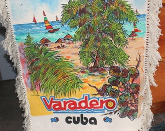 "Cuba Hand Painted Wall Hanging 42"" Signed Esperanza on Heavy Cotton Canvas - Vintage Vacation Varadero"