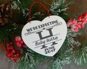 We're Expecting Christmas Ornament Personalized Pregnancy Christmas Ornament Baby Announcement Ornament Pregnancy Reveal Christmas Holiday