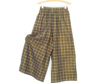 Vintage Palazzo Pants * Wide Leg Coulottes * Metallic Gold Madras Plaid Pants * Small / Medium