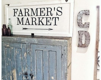 Farmers Market Sign- IN STOCK- Salvaged Cupboard Door- Typography Sign- 90 year old WI Cottage Door